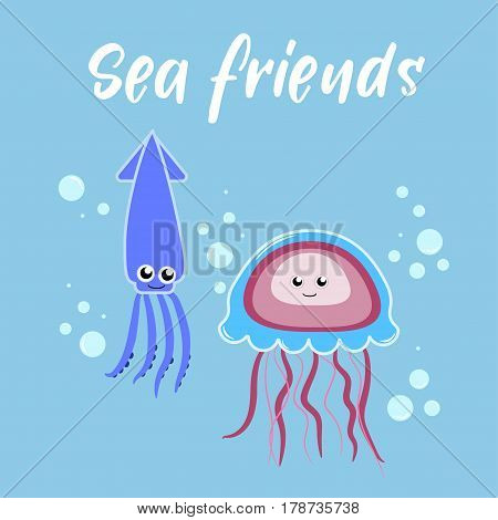 Sea friends of jellyfish and squid swim in the ocean