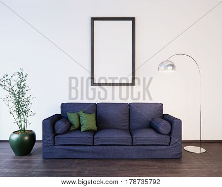 Mockup Poster in the living room interior 3D illustration of a modern design.