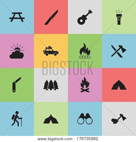 Set Of 16 Editable Camping Icons. Includes Symbols Such As Refuge, Voyage Car, Desk And More. Can Be Used For Web, Mobile, UI And Infographic Design.
