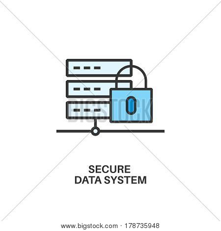 Secure data system. Internet security information protection outline linear icon
