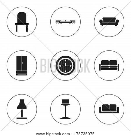 Set Of 9 Editable Furnishings Icons. Includes Symbols Such As Divan, Cupboard, Watch And More. Can Be Used For Web, Mobile, UI And Infographic Design.