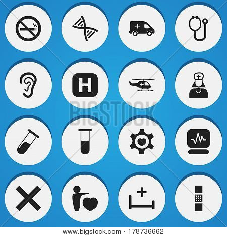 Set Of 16 Editable Clinic Icons. Includes Symbols Such As Doctor Tool, Genome, No Check And More. Can Be Used For Web, Mobile, UI And Infographic Design.