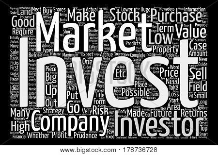 Investments guide text background word cloud concept