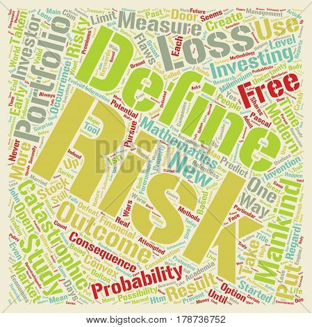 Investment Series Risk Free Investment Methodology text background wordcloud concept