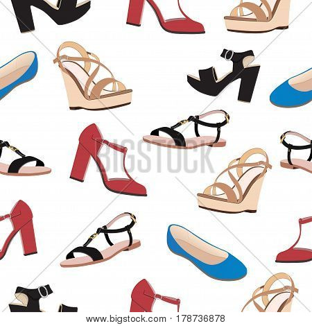 Shoes Vector Background, Seamless Pattern. Multicolored Sandals, Low Shoe And Ballet Slippers On A W