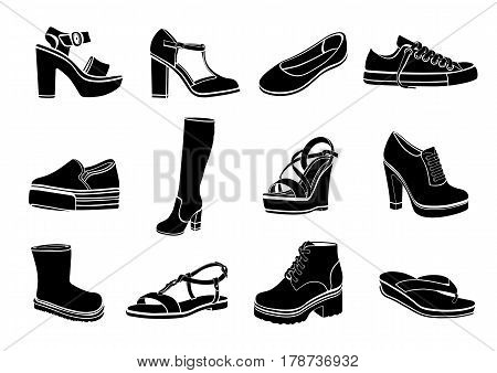 Shoes Set Of Vector Flat Icons. Black Sandals, Boots, Low Shoe, Ballet Slippers, High Boot, Gumshoes