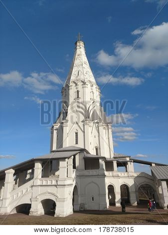 MOSCOW, RUSSIA - MARCH 26, 2017: The architectural ensemble of Kolomenskoye with the white stone Ascension Church St George the Victorious Bell Tower. UNESCO Monument