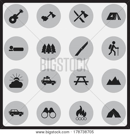 Set Of 16 Editable Travel Icons. Includes Symbols Such As Field Glasses, Musical Instrument, Tomahawk And More. Can Be Used For Web, Mobile, UI And Infographic Design.