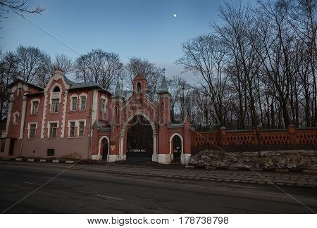 MOSCOW, RUSSIA - MAR 8, 2017: The main gate entrance to Vvedenskoe cemetery(German cemetery). Historical cemetery in the Moscow district of Lefortovo