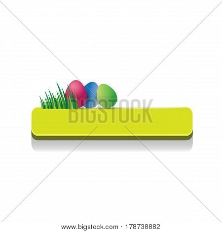 Easter vector green glossy button with color cartoon easter egg and spring grass. web green easter banner or sign