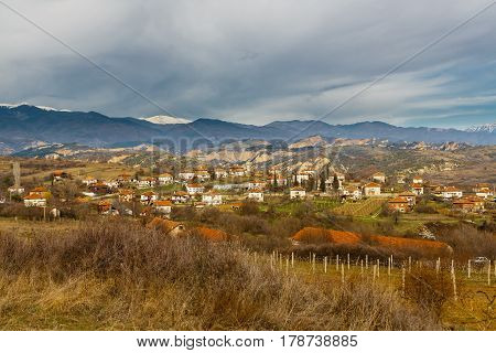 Village in mountains in the wine-making area in the southwest of Bulgaria