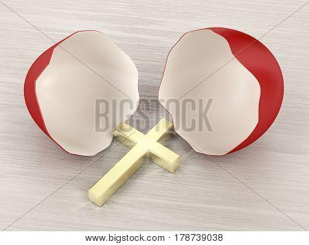 Broken eggshell with Christian golden cross inside, 3D illustration