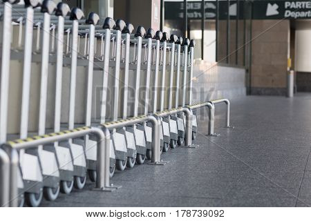 Carts to transport luggage to airport. Baggage.