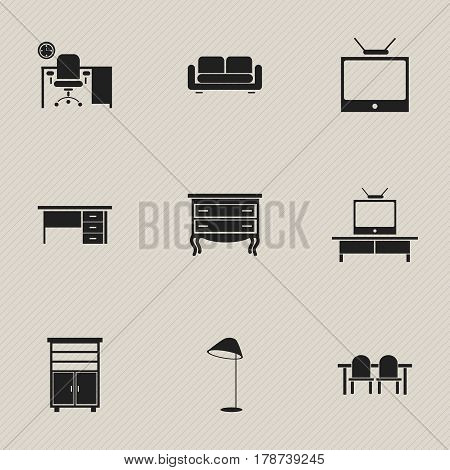Set Of 9 Editable Furnishings Icons. Includes Symbols Such As Television, Restaurant Table, Tv And More. Can Be Used For Web, Mobile, UI And Infographic Design.
