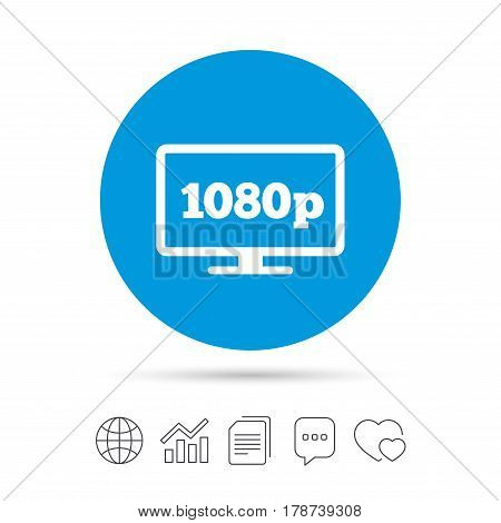 Full hd widescreen tv sign icon. 1080p symbol. Copy files, chat speech bubble and chart web icons. Vector