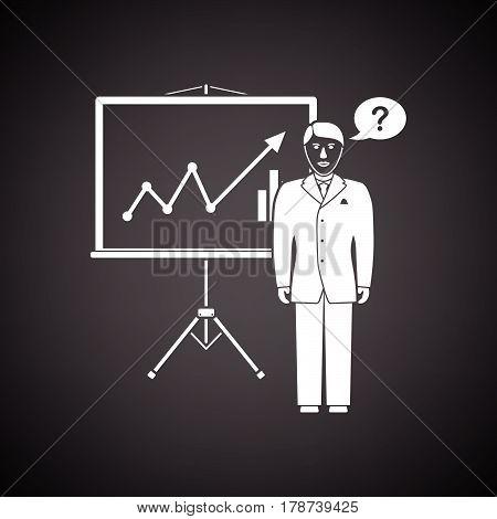 Clerk Near Analytics Stand Icon