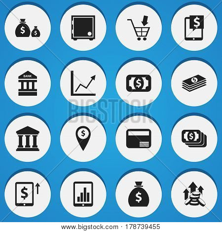 Set Of 16 Editable Finance Icons. Includes Symbols Such As Currency, Crate, Money Card And More. Can Be Used For Web, Mobile, UI And Infographic Design.
