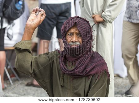 Nizwa Oma 24th March 2017: omani man in Nizwa goat market
