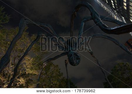 Tokyo Japan - October 19 2016 : Giant Spider Sculpture at Roppongi Hills Mori Tower entrance