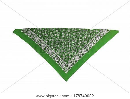 A green bandana with a pattern isolated.