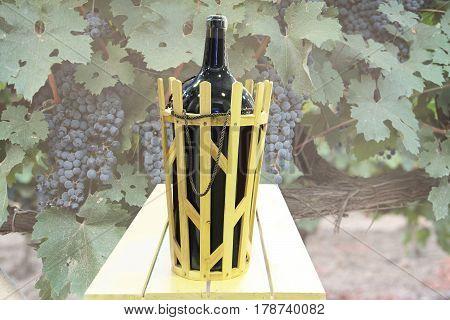 big bottle wine in basket on background of ripe grapes