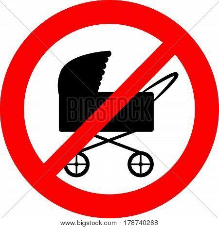 No stroller symbol on white background. Vector illustration.