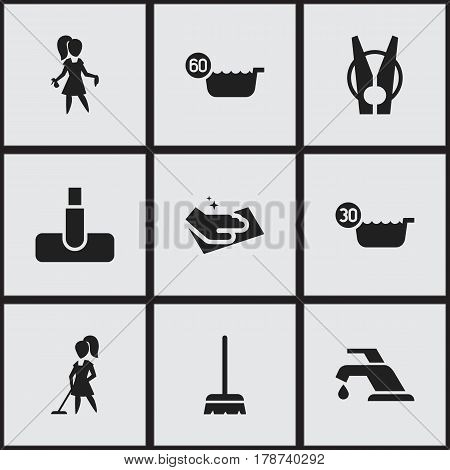 Set Of 9 Editable Hygiene Icons. Includes Symbols Such As Hoover, Towel, 60 Degrees And More. Can Be Used For Web, Mobile, UI And Infographic Design.