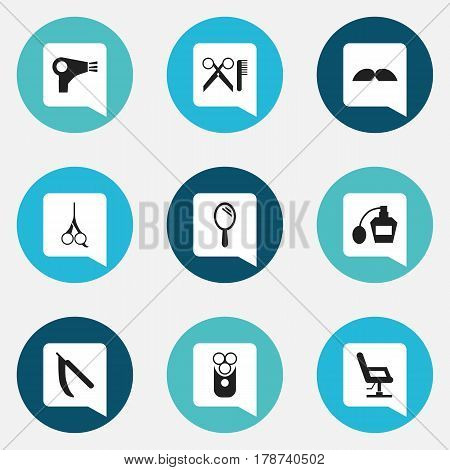 Set Of 9 Editable Hairstylist Icons. Includes Symbols Such As Elbow Chair, Scent, Cutter Apparatus And More. Can Be Used For Web, Mobile, UI And Infographic Design.