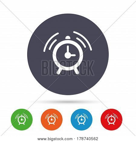 Alarm clock sign icon. Wake up alarm symbol. Round colourful buttons with flat icons. Vector