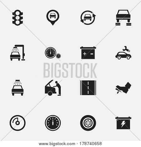 Set Of 16 Editable Transport Icons. Includes Symbols Such As Tuning Auto, Treadle, Tire And More. Can Be Used For Web, Mobile, UI And Infographic Design.