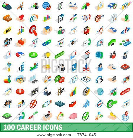 100 career icons set in isometric 3d style for any design vector illustration