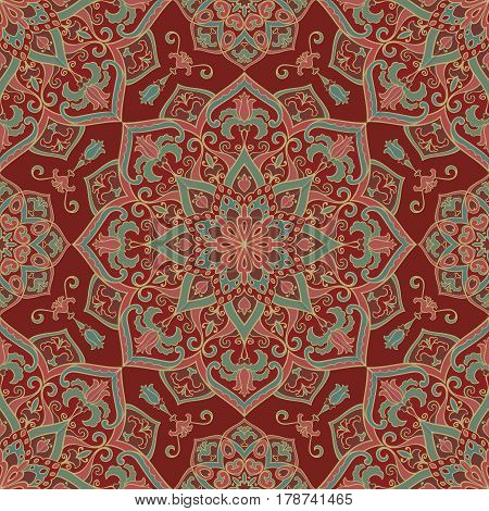 Vector ornate pattern with floral elements. Oriental red ornament. Colorful template for carpet. Design for textile shawl.