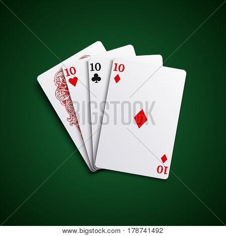Poker hand cards three of a kind combination template vector eps 10
