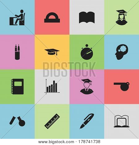 Set Of 16 Editable Science Icons. Includes Symbols Such As Pen, Book Rack, Graduation Hat And More. Can Be Used For Web, Mobile, UI And Infographic Design.
