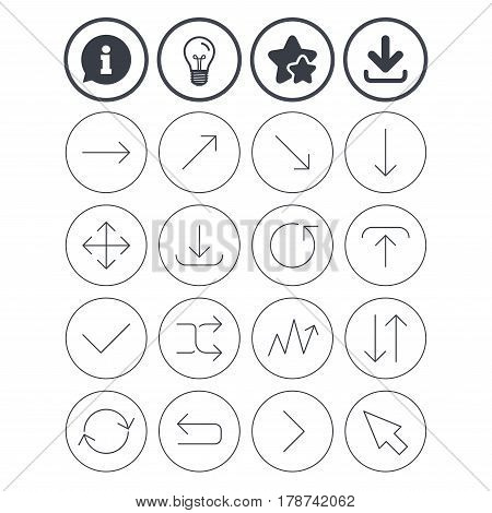 Information, light bulb and download signs. Arrows line icons. Download, upload, check or tick symbols. Refresh, fullscreen and shuffle thin outline signs. Best quality star symbol. Flat buttons