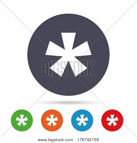 Asterisk footnote sign icon. Star note symbol for more information. Round colourful buttons with flat icons. Vector
