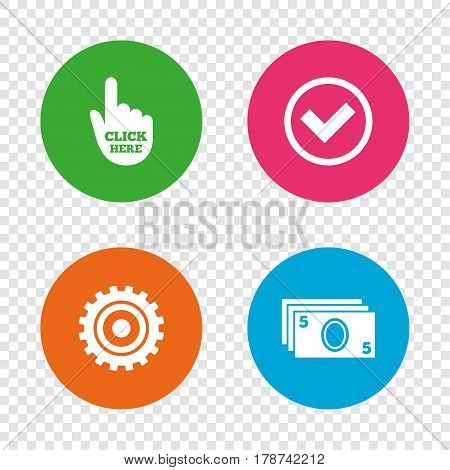 ATM cash machine withdrawal icons. Click here, check PIN number, processing and cash withdrawal symbols. Round buttons on transparent background. Vector