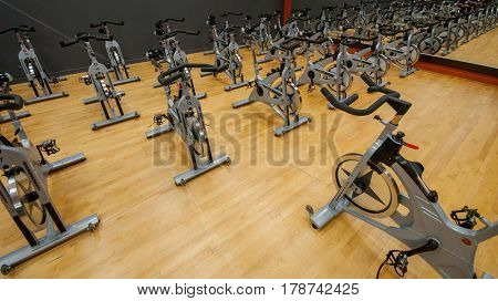 Toronto, Ontario, Canada - April 11, 2009.: Ready to spin, Schwinn Indoor stationary bike, designed for intense cardio training, muscle sculpting and calorie burn.