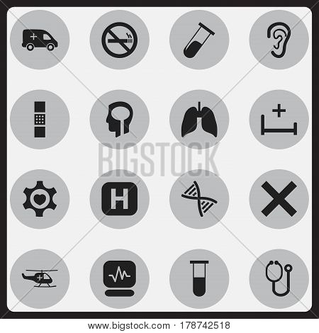 Set Of 16 Editable Health Icons. Includes Symbols Such As Clinic Room, Genome, Respiratory Organ And More. Can Be Used For Web, Mobile, UI And Infographic Design.