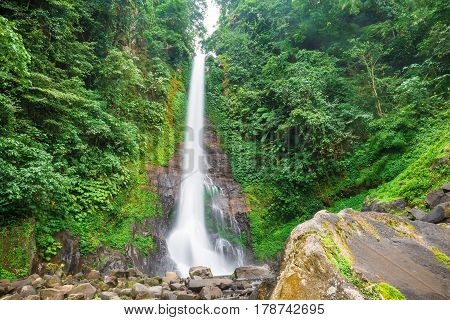 Beautiful waterfall and stones in a rain forest. Git git