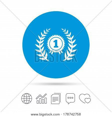 First place award sign icon. Prize for winner symbol. Laurel Wreath. Copy files, chat speech bubble and chart web icons. Vector