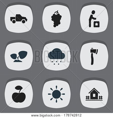 Set Of 9 Editable Garden Icons. Includes Symbols Such As Ploughman, Home With Fence, Rainy Cloud And More. Can Be Used For Web, Mobile, UI And Infographic Design.