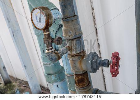 Manometer, Pressure Gauge, Measuring Gas Pressure. Pipes And Valves