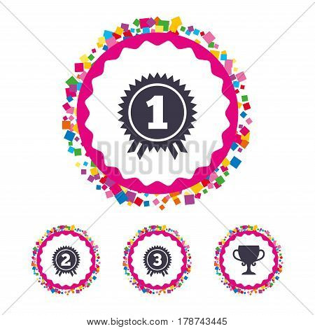 Web buttons with confetti pieces. First, second and third place icons. Award medals sign symbols. Prize cup for winner. Bright stylish design. Vector