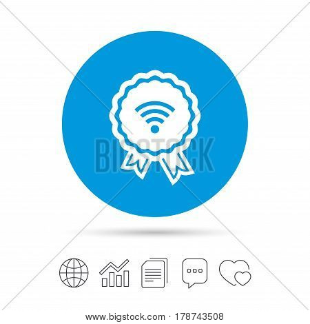 Award Wifi sign. Wi-fi medal symbol. Wireless Network icon. Wifi zone. Copy files, chat speech bubble and chart web icons. Vector