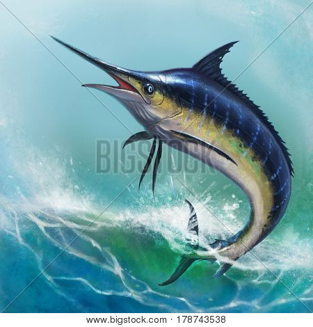 Blue marlin in the ocean illustration of fish