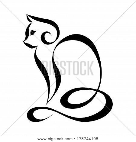 Cat silhouette logo. Continuous line, vector illustration