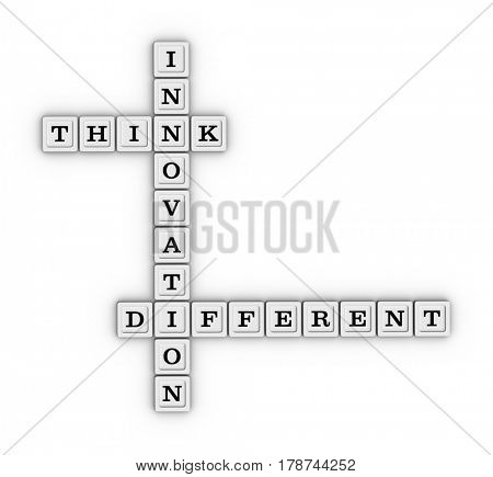 Think Different Innovation Crossword Puzzle. 3D illustration on white background.