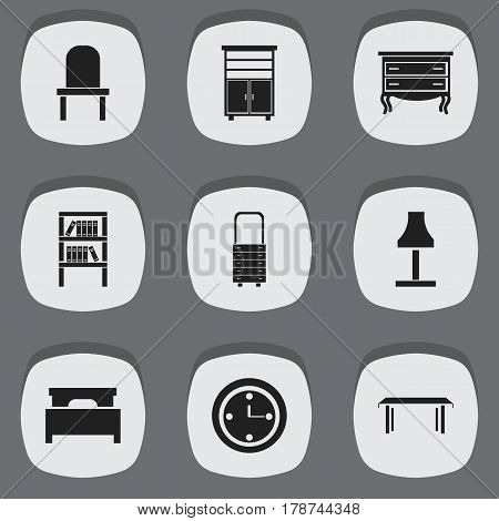 Set Of 9 Editable Furnishings Icons. Includes Symbols Such As Lectern, Wall Mirror, Watch And More. Can Be Used For Web, Mobile, UI And Infographic Design.