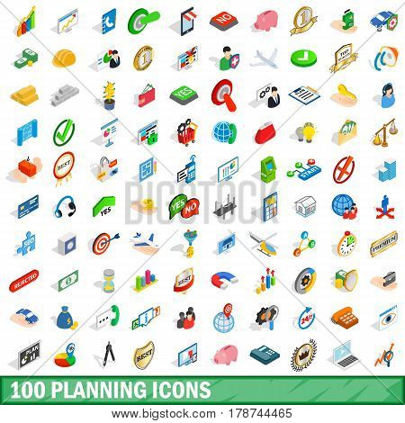 100 planning icons set in isometric 3d style for any design vector illustration
